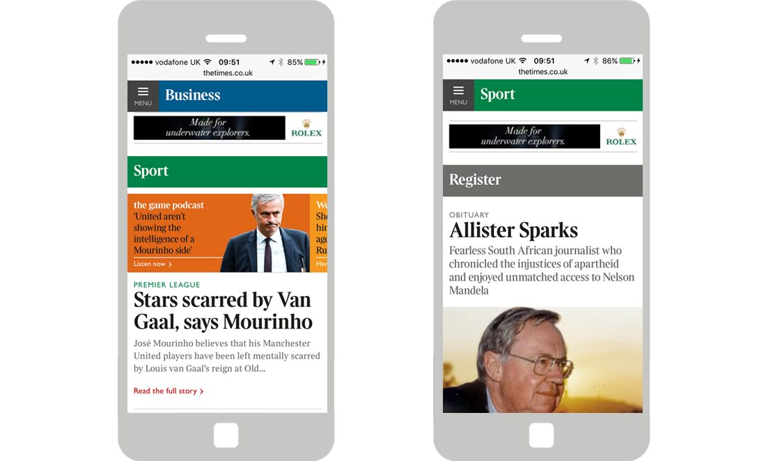 Format/Targeting: Times Homepage Mobile