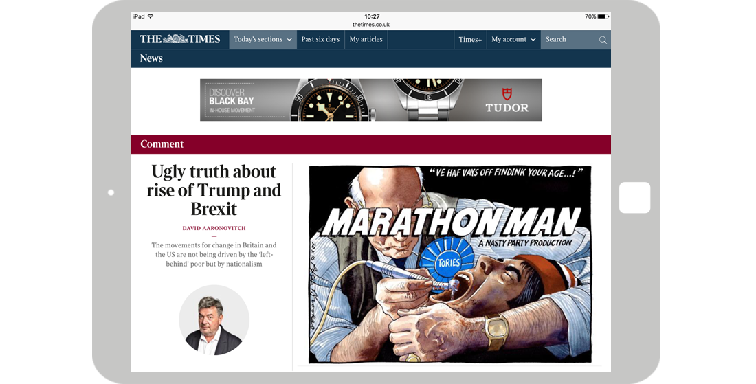 Format/Targeting: Times Homepage - Tablet